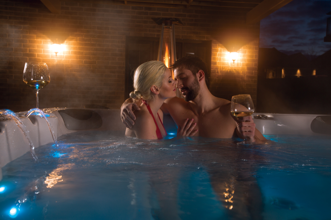 kissing in hot tub